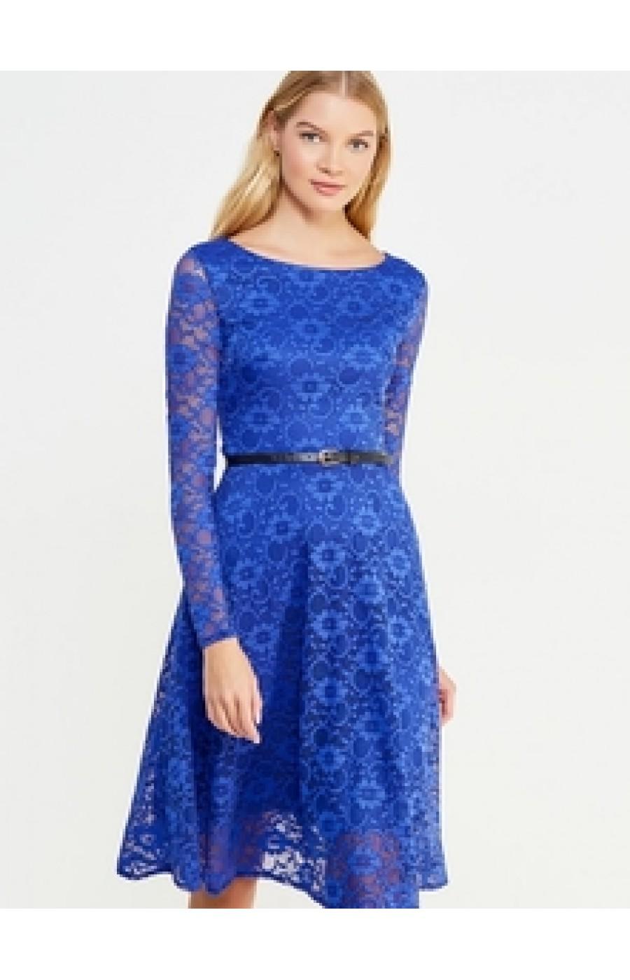 Μίντι δαντελένιο φόρεμα με ζωνάκι