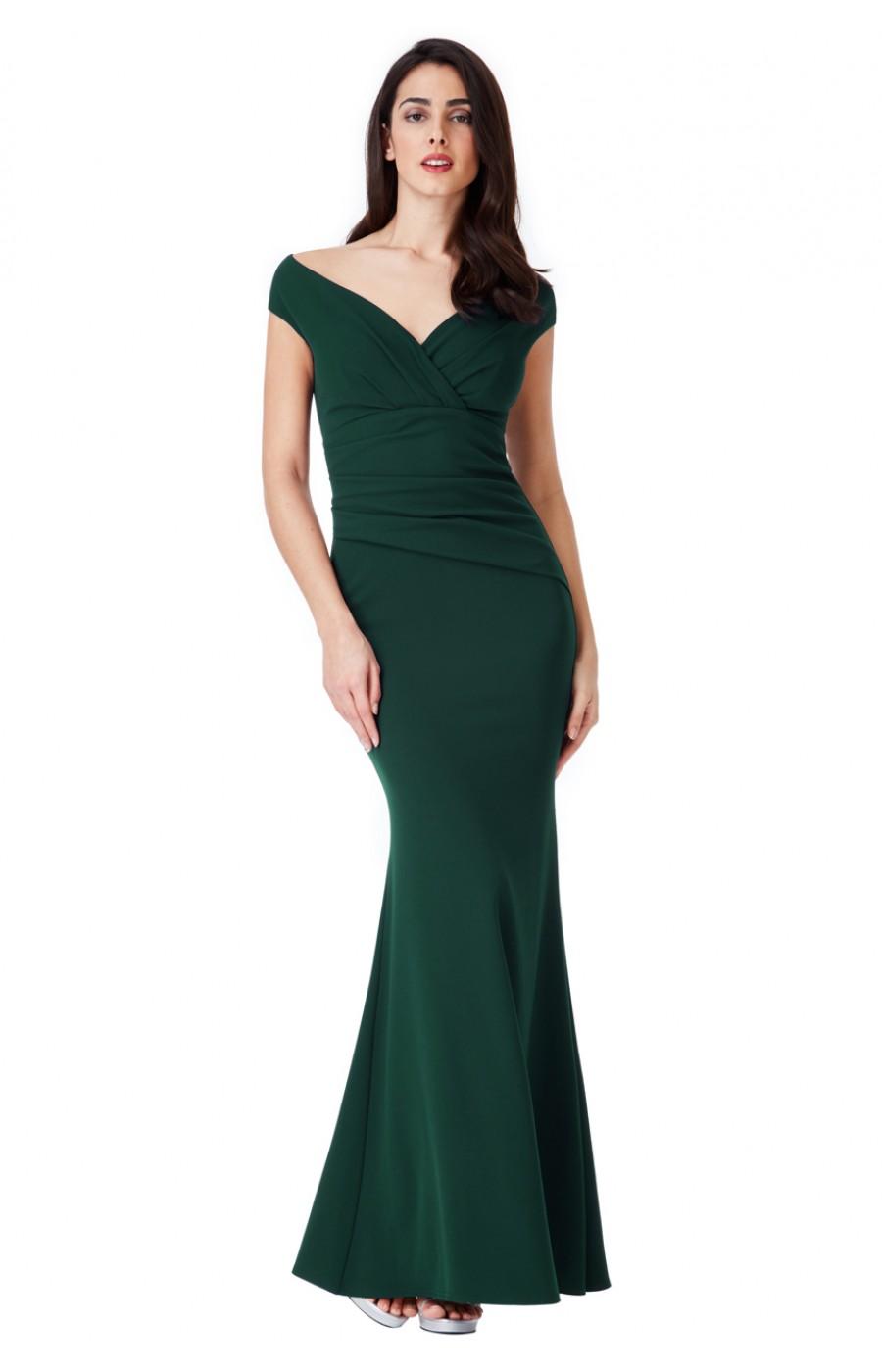 Μακρύ σκουρο πράσινο κρεπ φόρεμα