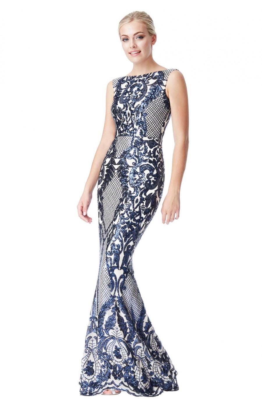 Φορεμα για γαμο Μπροκάρ κεντημένο φόρεμα μπεζ με μπλέ σκούρο