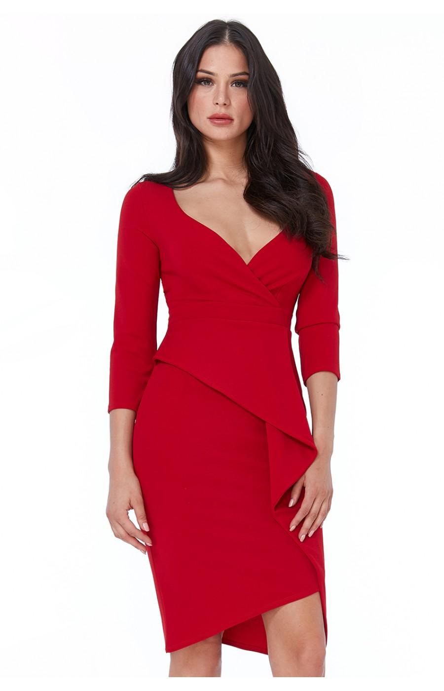 Κόκκινο κρεπ μίντι φόρεμα με μανίκι τριών τετάρτων