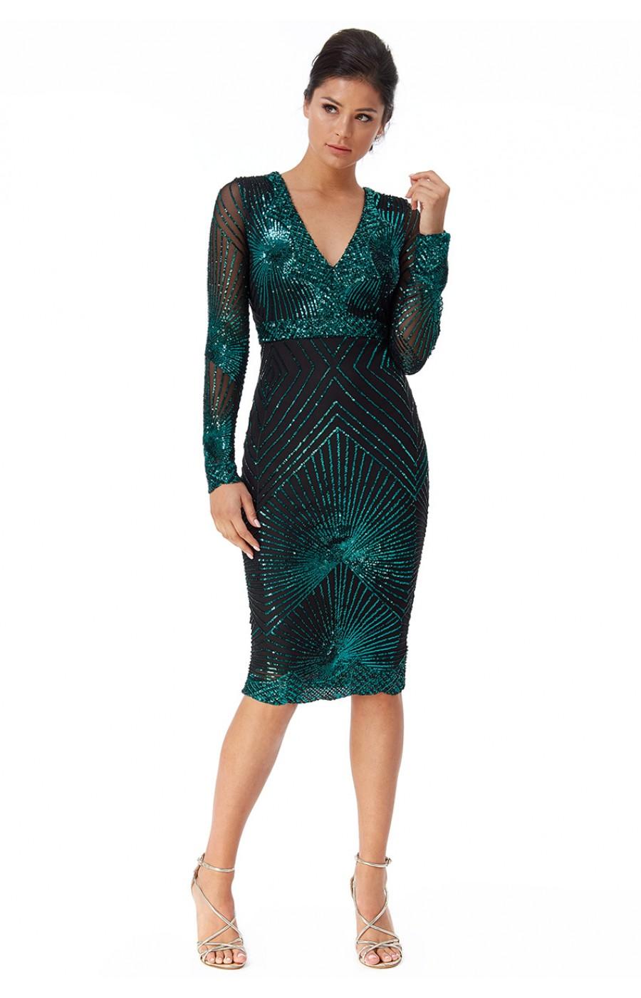 Σμαραγδί κεντημένο φορεμα