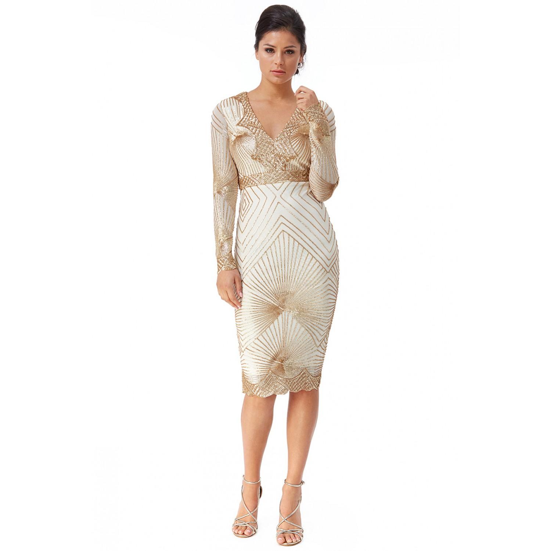 Χρυσό μίντι φόρεμα με κέντημα ΝΕΑ