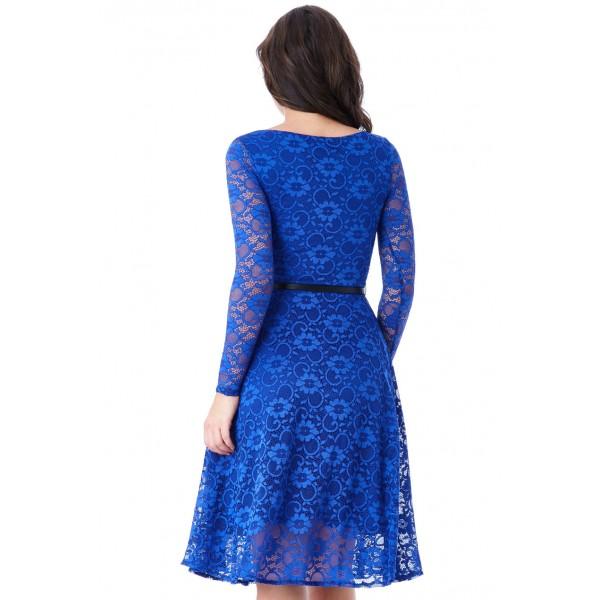 Μίντι δαντελένιο φόρεμα με ζωνάκι ΝΕΑ