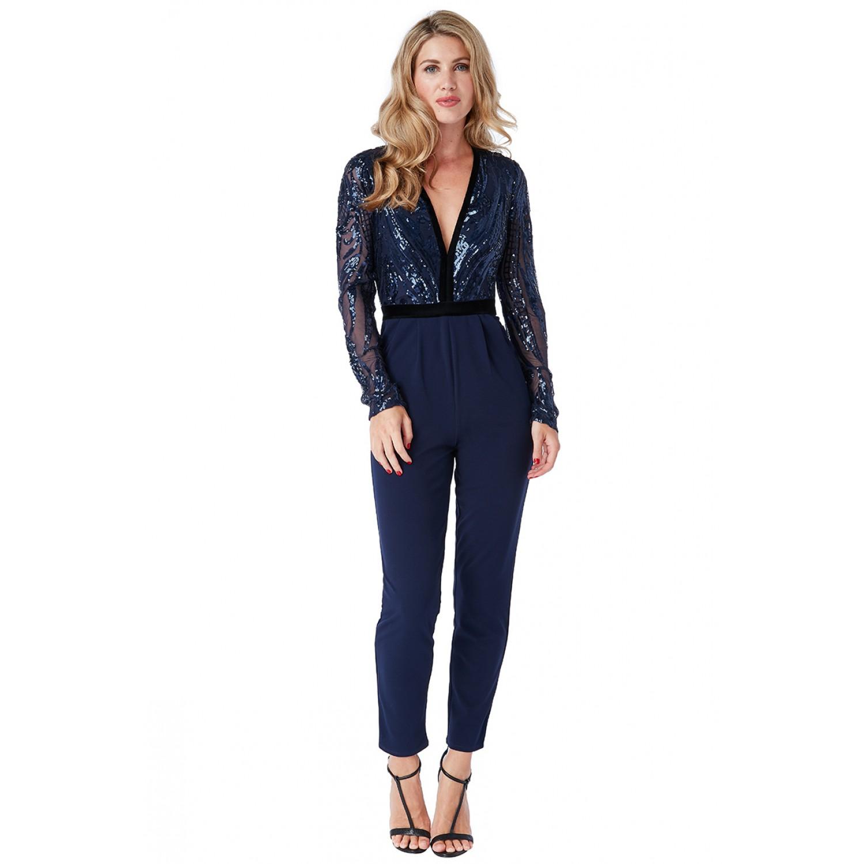 Ολόσωμη μπλε σκουρη φόρμα με λεπτομέρειες απο βελούδο και δαντέλα ΝΟΥΜΕΡΟ M-UK10