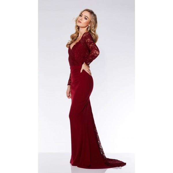 Φόρεμα για γάμο / αρραβώνα μπορντώ με δαντέλα και μικρή ουρά ΝΟΥΜΕΡΟ M-UK10
