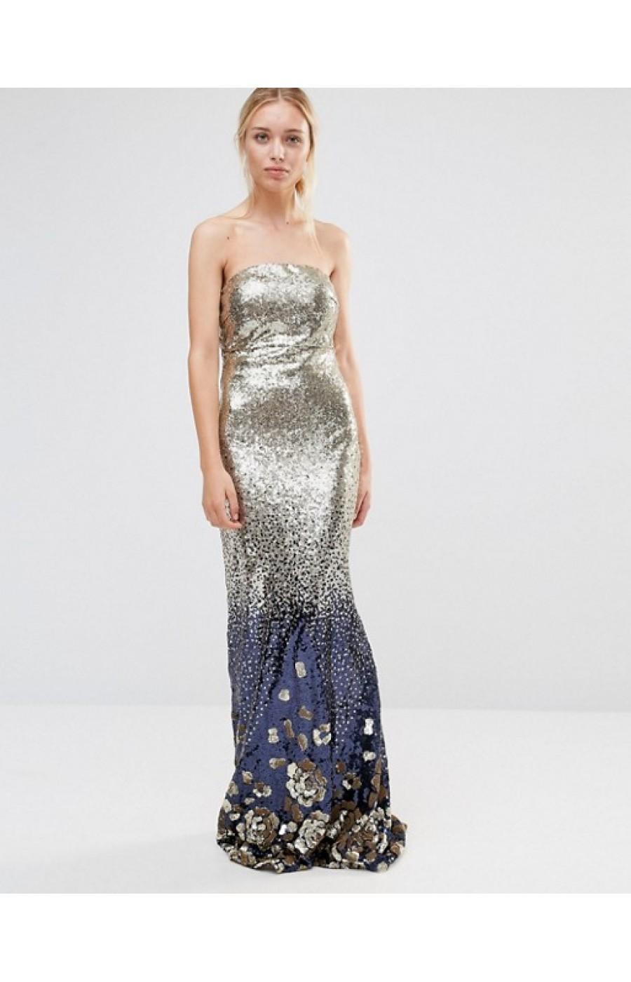 Χρυσό μακρύ φόρεμα με πούλιες