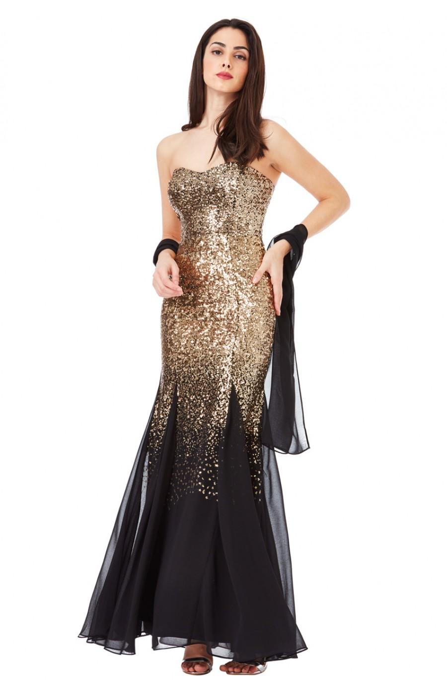 Χρυσό φόρεμα με παγιετες με τελείωμα μαύρο σιφόν