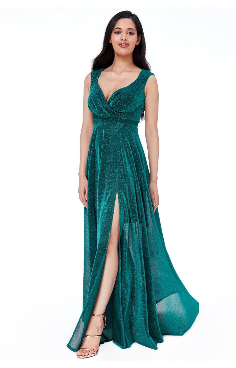 Μεταλλικό ανάλαφρο σμαραγδί φόρεμα