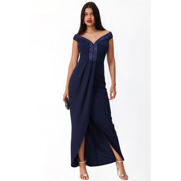 Σκούρο μπλέ φόρεμα με κεντημα στο λαιμό  ΝΟΥΜΕΡΟ M-UK10