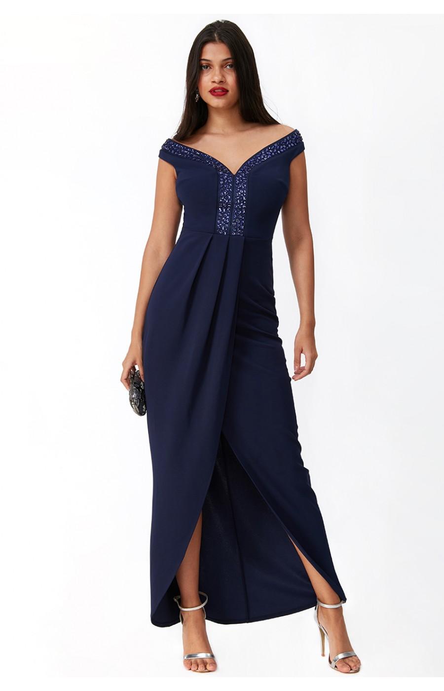 Σκούρο μπλέ φόρεμα με κεντημα στο λαιμό
