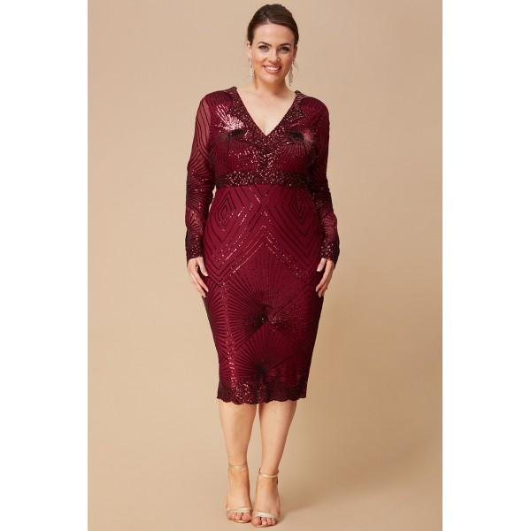 Μπορντώ μιντι φόρεμα New in