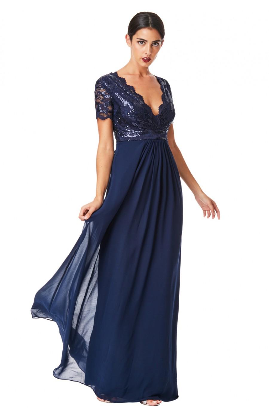 Σιφόν μάξι μπλε σκούρο φόρεμα