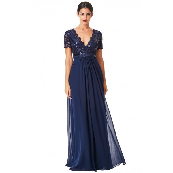 Σιφόν μάξι μπλε σκούρο φόρεμα  ΝΟΥΜΕΡΟ M-UK10