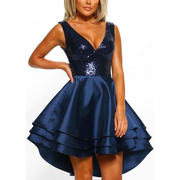 Μπλέ σκούρο ασύμμετρο φόρεμα σατέν και παγιέτες ΝΟΥΜΕΡΟ M-UK10