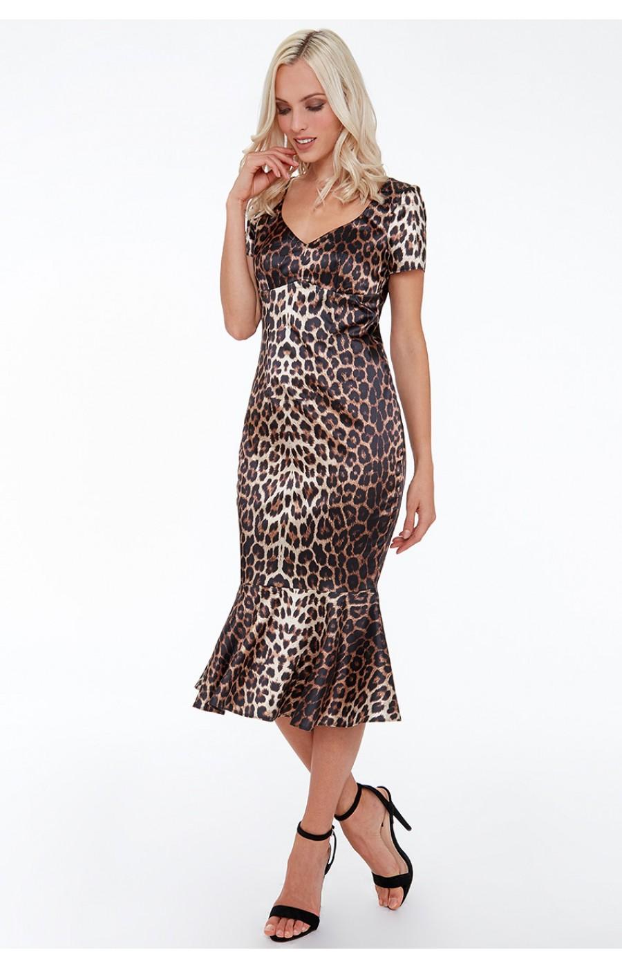 Σατέν λεοπάρ φόρεμα με μανικάκι