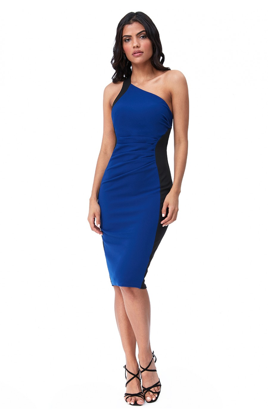 Ασύμετρο μιντι φόρεμα σε μπλε και μαυρο