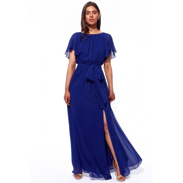 Μακρύ μπλέ σιφον φόρεμα με ανοικτή πλάτη ΝΟΥΜΕΡΟ M-UK10