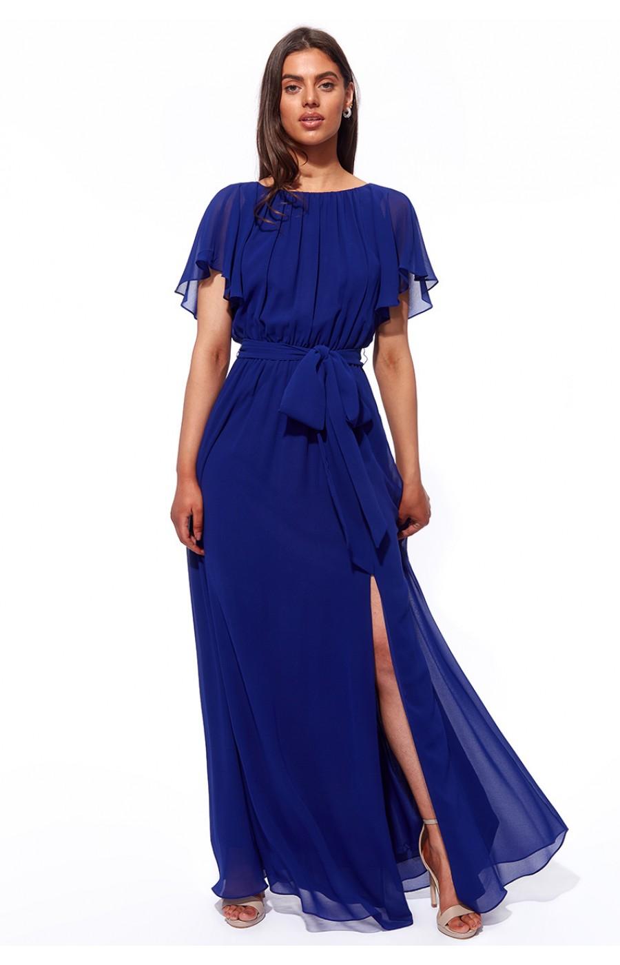 Μακρύ μπλέ σιφον φόρεμα με ανοικτή πλάτη