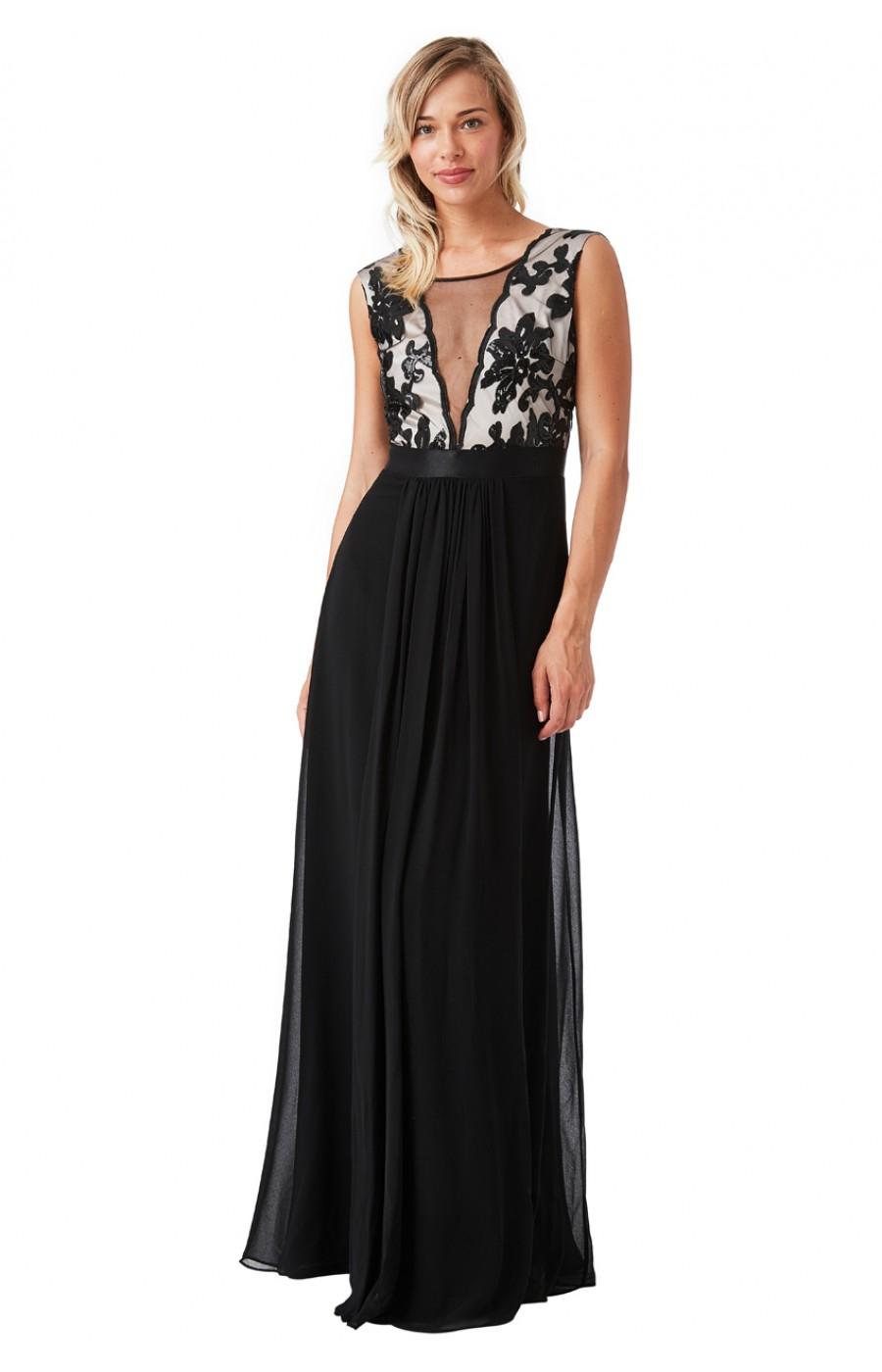 Σιφόν μακρύ φόρεμα με διαφάνεια μπροστά