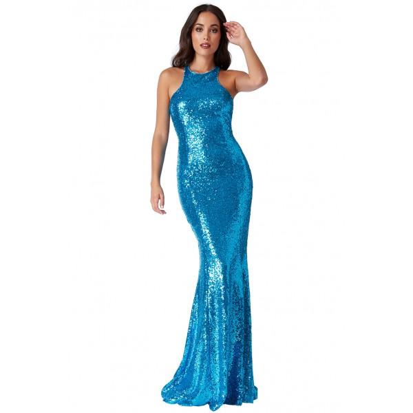 Τιρκουαζ εξώπλατο μακρυ φόρεμα με παγιέτες  ΝΟΥΜΕΡΟ M-UK10