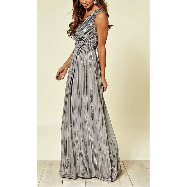Σιφόν γκρι ασημι φορεμα με παγιέτες ΝΟΥΜΕΡΟ M-UK10