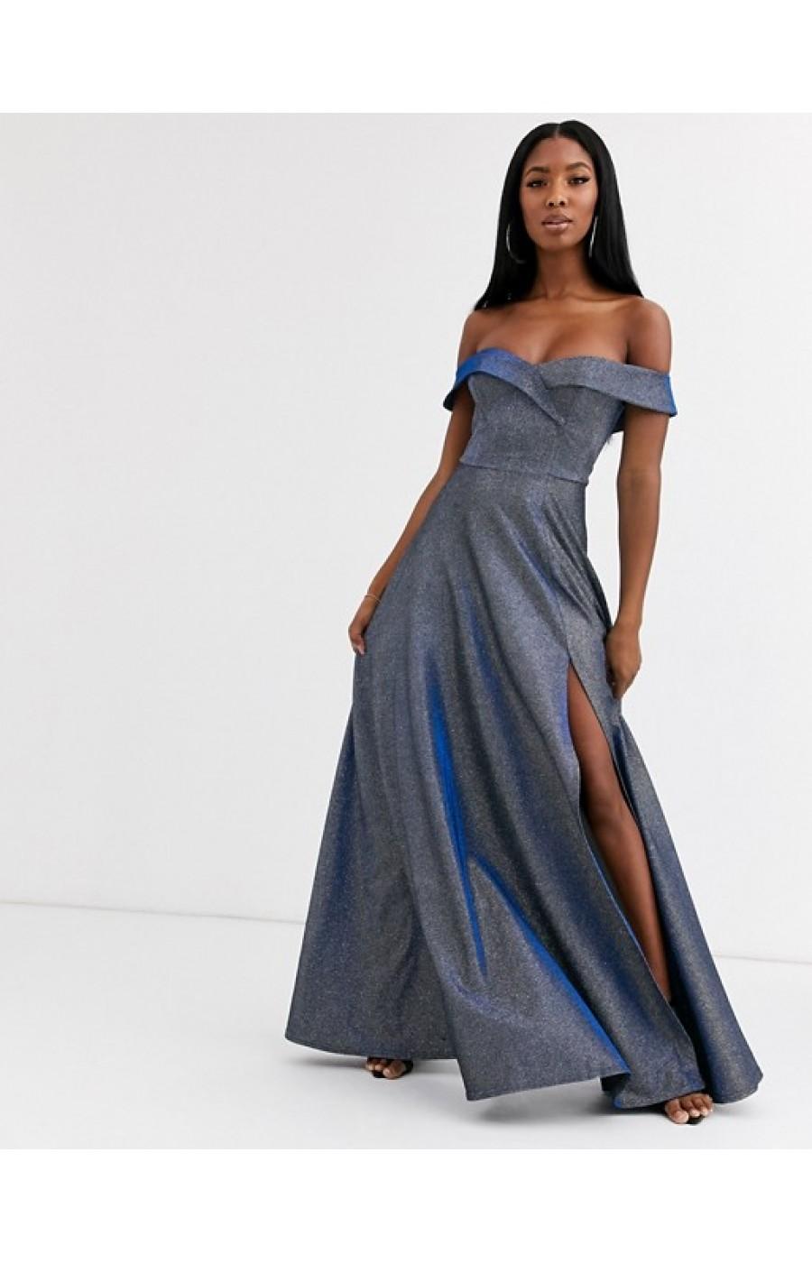 Μακρύ ανάλαφρο μεταλλικό φόρεμα με σκίσιμο μπροστά