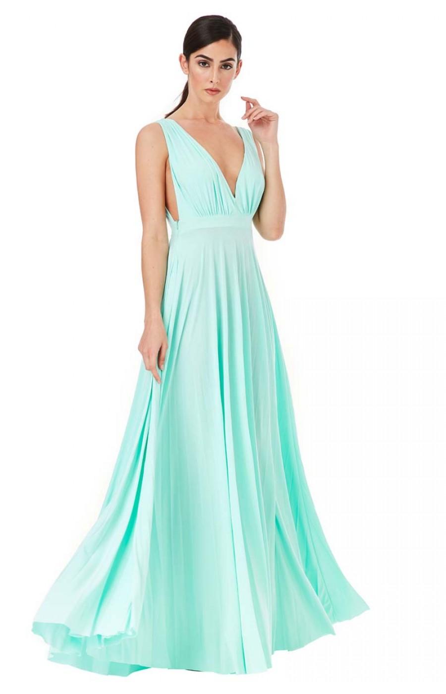 Χυτό μακρύ φόρεμα στο χρώμα της μεντας
