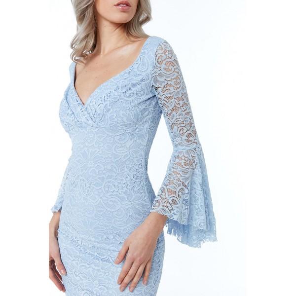Ρομαντικό γαλάζιο φόρεμα όλο δαντέλα ΝΟΥΜΕΡΟ S-UK8