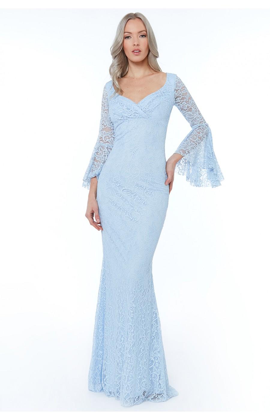 Ρομαντικό γαλάζιο φόρεμα όλο δαντέλα