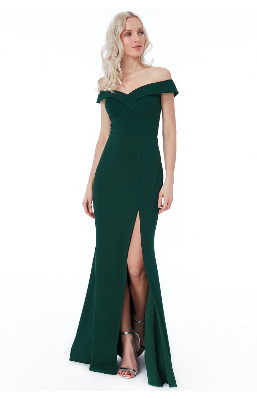 Σμαράγδι μακρύ φόρεμα με ριχτούς ώμους και σκίσιμο μπροστά