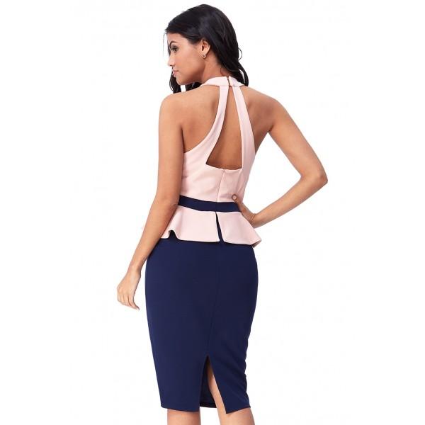 Κρεπ μιντι φόρεμα με αντίθεση στα χρώματα ΝΟΥΜΕΡΟ S-UK8