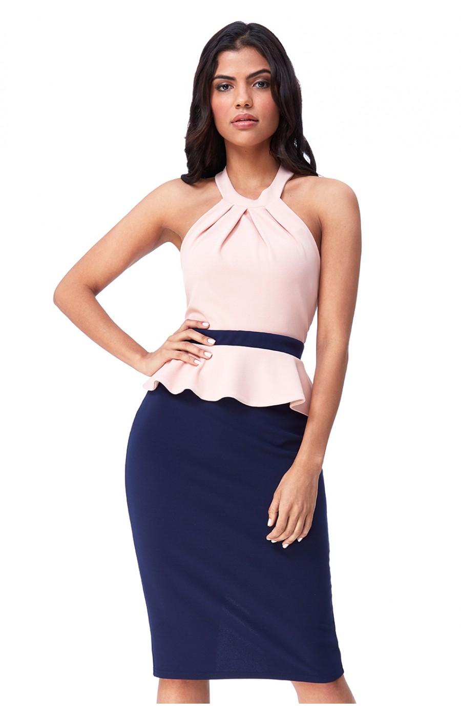 Κρεπ μιντι φόρεμα με αντίθεση στα χρώματα