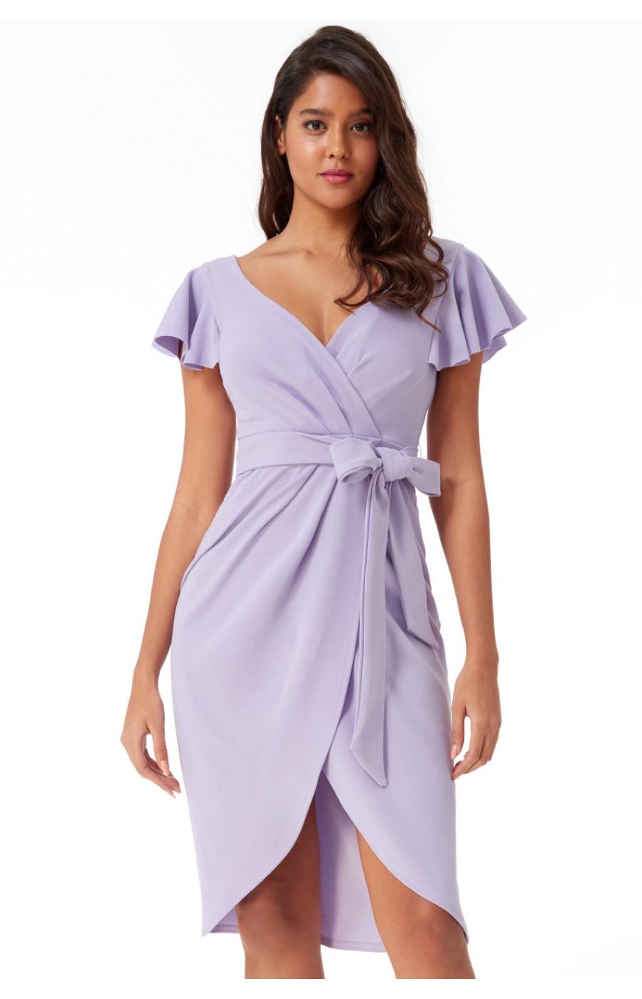 Μίντι κρέπ φόρεμα που δένει μπροστά