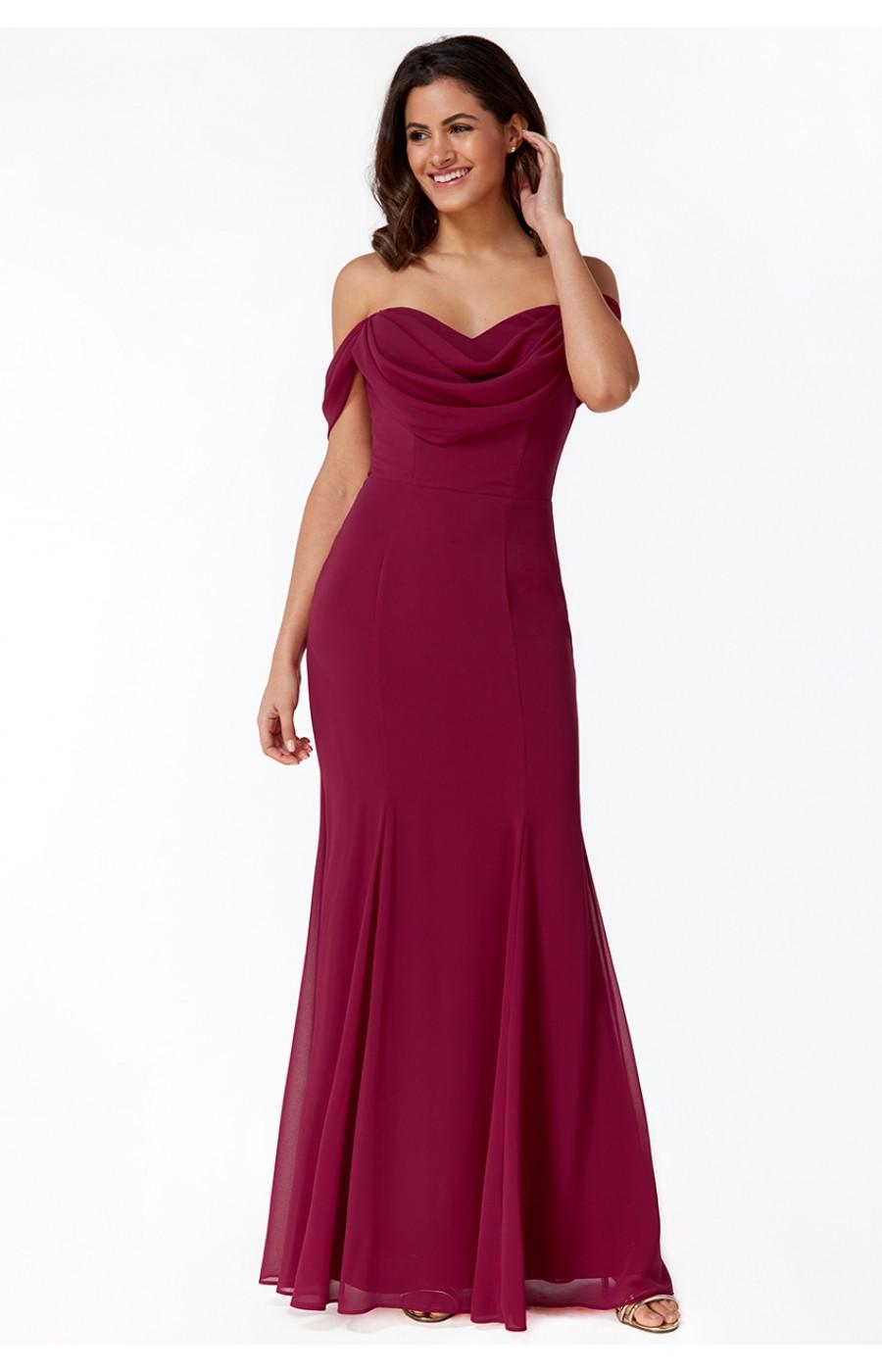 Σιφόν μακρύ φόρεμα στο χρώμα του βατόμουρου