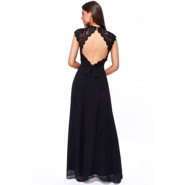 Μακρύ ανάλαφρο σιφόν φόρεμα με μαλακή δαντέλα και ανοικτή πλάτη ΝΕΑ