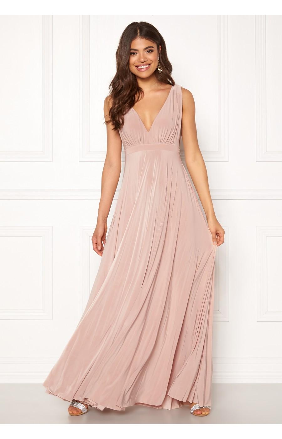 Χυτό μωβ φόρεμα με πλισέ κάτω