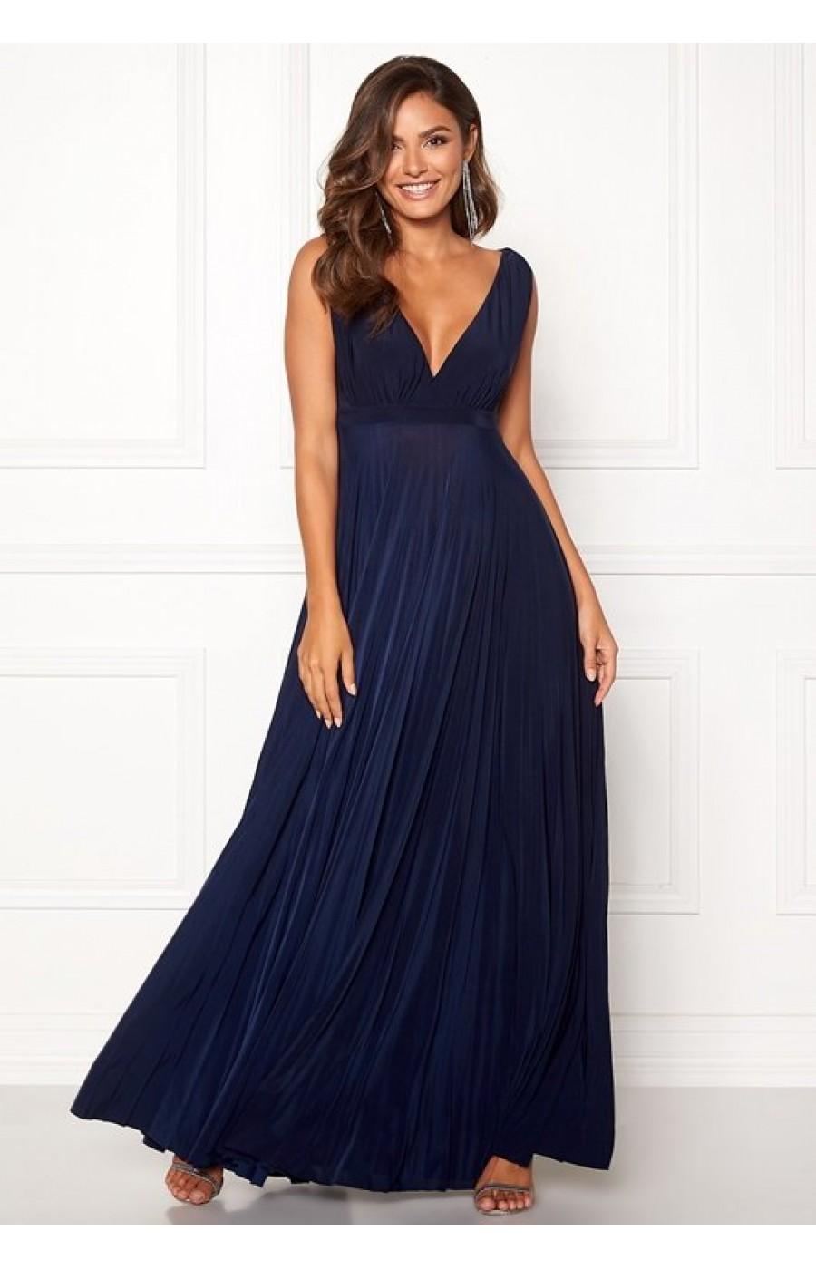 Χυτό Navy φόρεμα με πλισέ κάτω