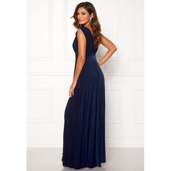 Χυτό Navy φόρεμα με πλισέ κάτω  ΝΟΥΜΕΡΟ M-UK10
