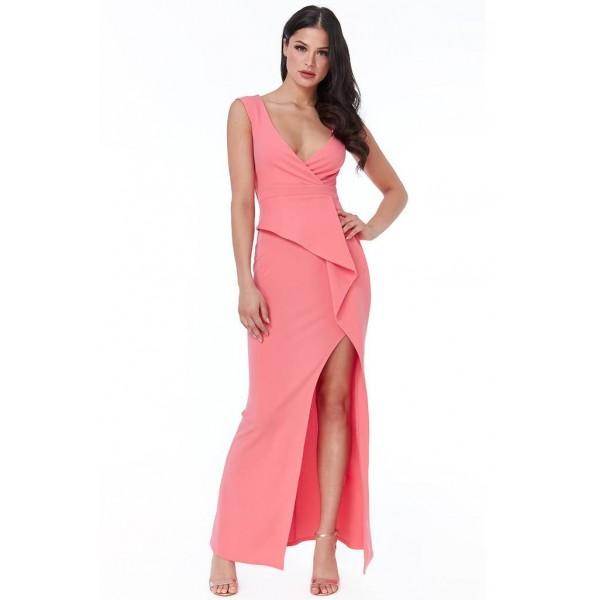 Κρεπ κοραλί φόρεμα με λεπτομέρεια στην μέση και σκίσιμο μπροστά ΝΟΥΜΕΡΟ S-UK8
