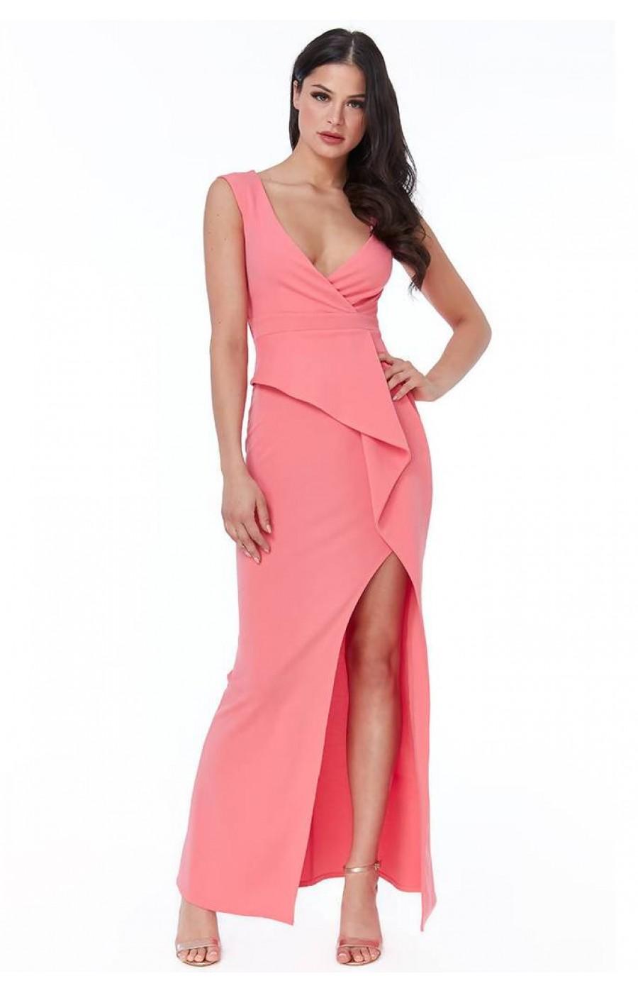 Κρεπ κοραλί φόρεμα με λεπτομέρεια στην μέση και σκίσιμο μπροστά