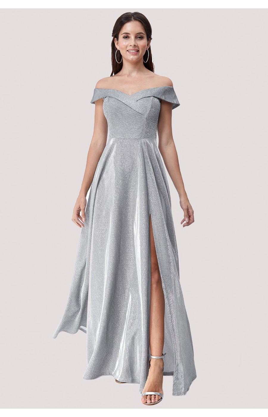 Ανάλαφρο ασημένιο μεταλλικό φόρεμα