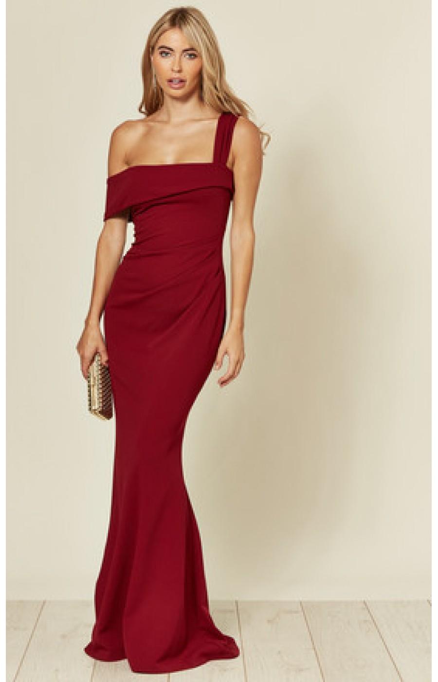 Κρέπ μακρύ επίσημο φόρεμα στο χρώμα του κρασιού
