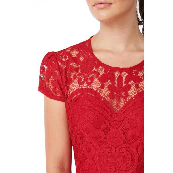 Κόκκινο δαντελένιο φόρεμα με μανικάκι New in