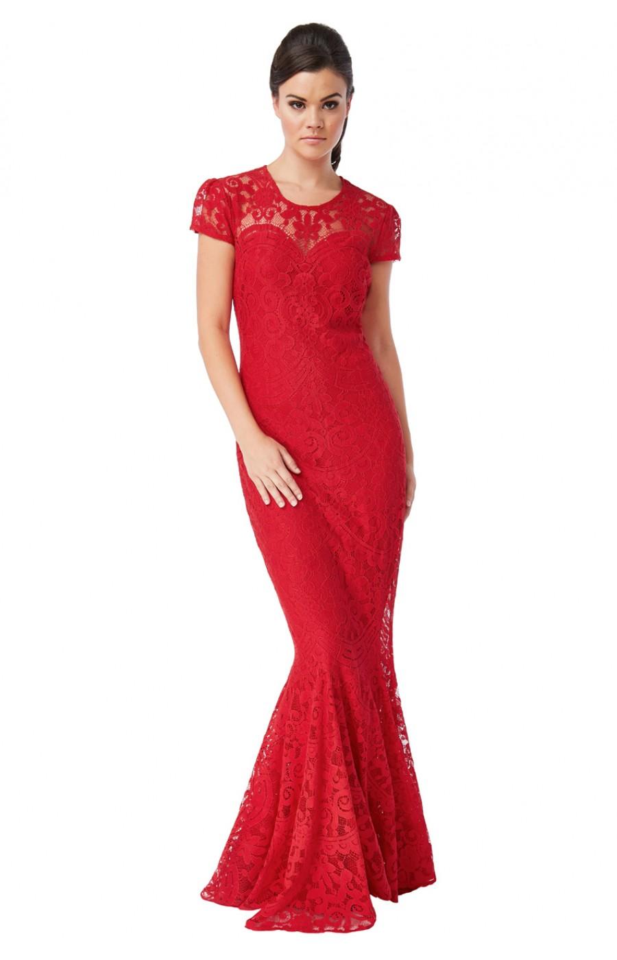 Κόκκινο δαντελένιο φόρεμα με μανικάκι