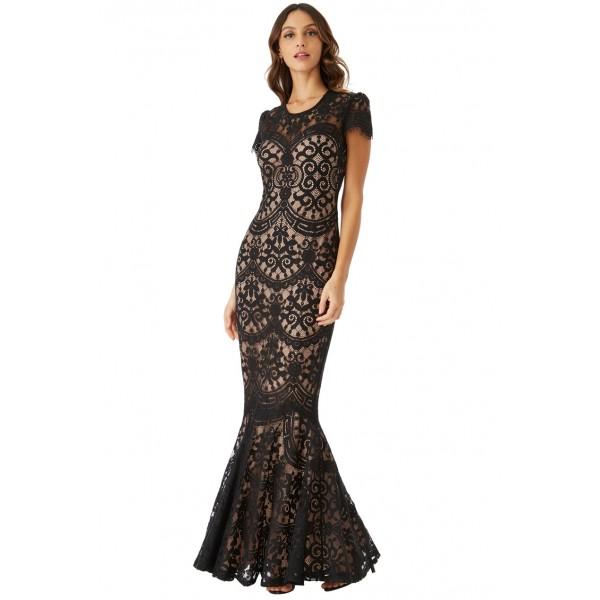 Μαύρο δαντελένιο φόρεμα με μανικάκι ΝΟΥΜΕΡΟ M-UK10