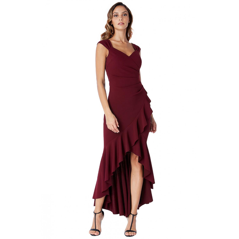 Μπορντώ ασύμετρο φόρεμα με βολάν New in