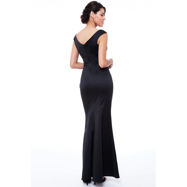 Μαυρο κρεπ σατεν φόρεμα New in