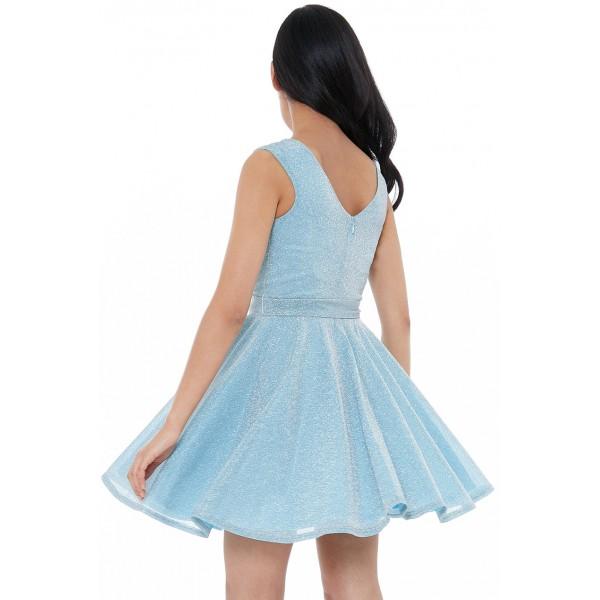 Μινι γαλάζιο αναλαφρο μεταλλικο φόρεμα
