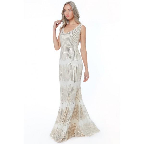 Μπεζ χρυσό αναλαφρο φόρεμα με παγιέτες New in