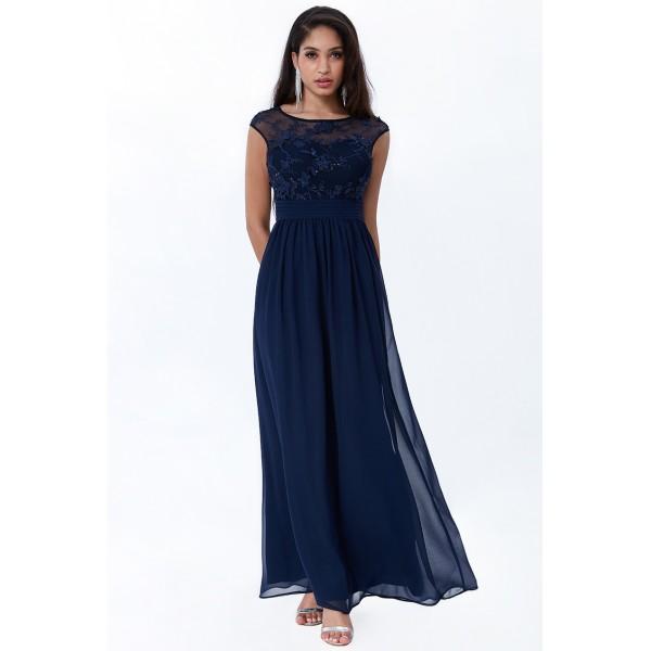 Μακρύ σιφόν μπλε σκούρο φόρεμα με απλικέ λουλούδια New in